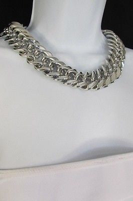 New Women Short Lightweight Chunky Silver Thick Big Chains Fashion Necklace - alwaystyle4you - 11