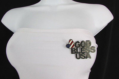 N. Women American Flag GOD BLESS USA Silver Metal Pin Broach Silver 4th of July - alwaystyle4you - 7