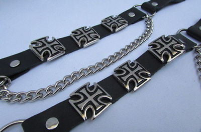 Silver Big Iron Cross Boot Chain Bracelet Pair Black Straps Shoe New Men Western Style - alwaystyle4you - 6