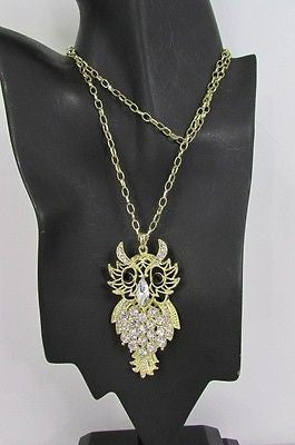 "New Women 26"" Gold Metal Chains Fashion Necklace Big Owl Silver Rhinestone - alwaystyle4you - 2"
