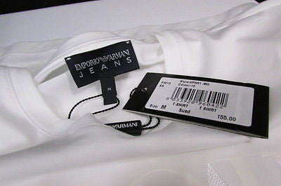 New Emporium Armani Men Signature White Fashion Authentic T-shirt Crew-neck Top Medium $195 - alwaystyle4you - 8