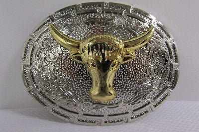 "New Belt Buckle Men Women 3.5""/2.75"" Big Gold Bull Head Silver Metal Western Fashion Belt Buckle 3D Texas long Horn Cow - alwaystyle4you - 1"