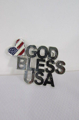 Silver Metal Pin Broach Silver 4th of July American Flag GOD BLESS USA Women Accessories