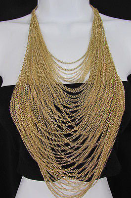Extra Long Gold Multi Strands Chains Necklace + Earrings Set New Women Fashion - alwaystyle4you - 1