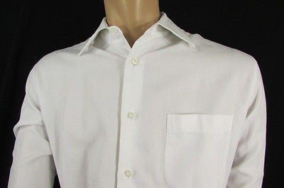 Hugo Boss Men White Button Down Dress Shirt Long Sleeves Classic Large 16 34-35 - alwaystyle4you - 1