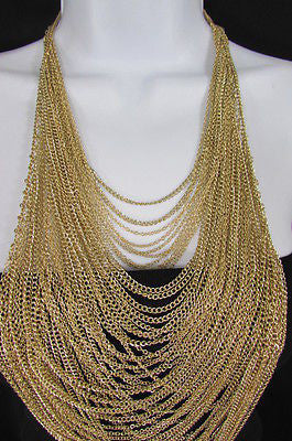Extra Long Gold Multi Strands Chains Necklace + Earrings Set New Women Fashion - alwaystyle4you - 8