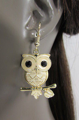 New Women Gold Metal Owl Jewelry Earrings Set Black Eyes Birds Hook Light Weight - alwaystyle4you - 10