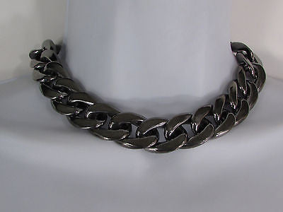 Women Fashion Pewter Gunmetal Light weight Plastic Chunky Chain Thick Necklace - alwaystyle4you - 5