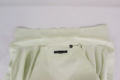Theory Men White Button Down Dress Shirt Green Pin Stripes Classic Large 34-35 - alwaystyle4you - 4