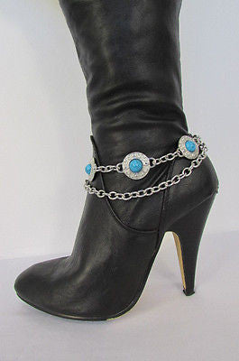 Turqoise Blue Beads Silver Metal Boot Chain Bracelet One Strap New Women Fashion Western - alwaystyle4you - 9