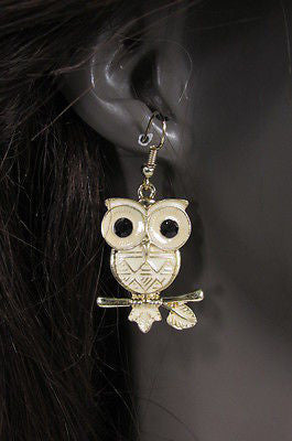 New Women Gold Metal Owl Jewelry Earrings Set Black Eyes Birds Hook Light Weight - alwaystyle4you - 12