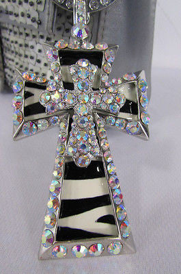 New Women Silver Metal Plate Scarf Necklace Pendant Charm Big Cross Rhinestones - alwaystyle4you - 8