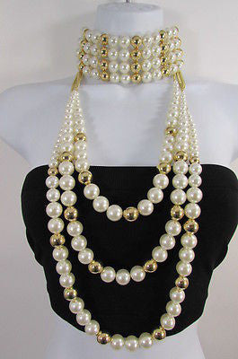 Gold Metal Multi Pearl Beads 3 Strands Chains Choker Necklace New Women Fashion - alwaystyle4you - 12