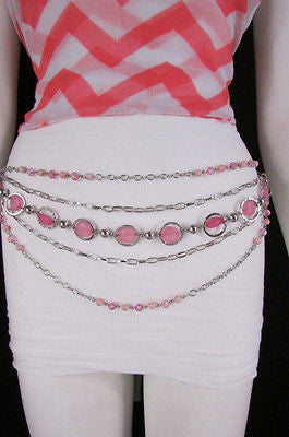Pink Beads Silver Metal Multi Chains 5 Strands Hip Waist Belt New Women Fashion Accessories XS S M L - alwaystyle4you - 2