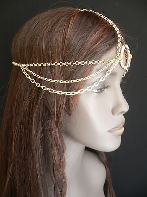 New Miami Beach Women Gold Big Ring Metal Head Chain Jewelry Hair Accessories - alwaystyle4you - 3