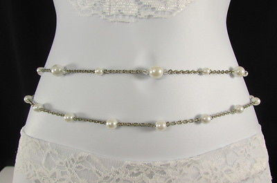 Silver Chains Hip High Waist Belt White Imitation Pearl New Women Fashion Accessories S M L XL - alwaystyle4you - 3