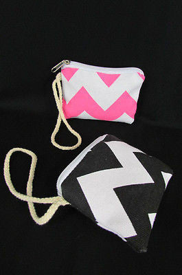 New Women Fashion Mini Purse Fabric Make Up Coin Wallet Chevron Print Rope Starp - alwaystyle4you - 6