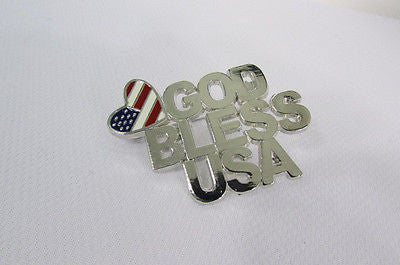 N. Women American Flag GOD BLESS USA Silver Metal Pin Broach Silver 4th of July - alwaystyle4you - 4