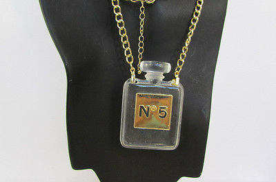 New Women Gold Metal Chains Fashion Necklace Clear Plastic Perfume Bottle No 5 - alwaystyle4you - 9