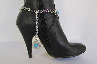 Turqoise Blue Beads Silver Metal Boot Chain Bracelet One Strap New Women Fashion Western - alwaystyle4you - 12