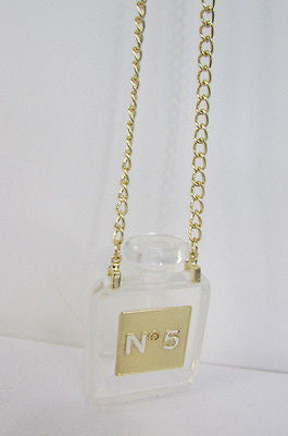 New Women Gold Metal Chains Fashion Necklace Clear Plastic Perfume Bottle No 5 - alwaystyle4you - 8
