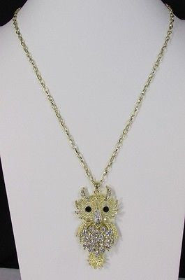 "New Women 26"" Gold Metal Chains Fashion Necklace Big Owl Silver Rhinestone - alwaystyle4you - 12"