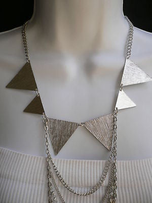 New Women Silver Body Jewerly Multi Chains Crew Neck Spikes Shape Long Necklace - alwaystyle4you - 3