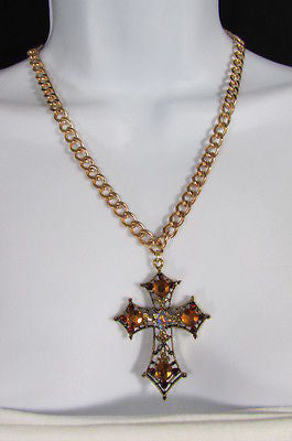 New Women Gold Metal Chain Fashion Necklace Big Cross Brown Rhinestones Pendant - alwaystyle4you - 12
