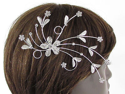 New Women Silver Metal Big Flowers Leaf Rhinestone Large Head Fashion Jewelry - alwaystyle4you - 11
