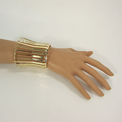 "Gold Wide Metal Cuff Bracelet Unique Cut Shape  3"" Long New Women Fashion Jewelry Accessories - alwaystyle4you - 5"