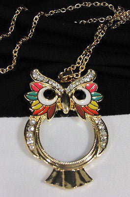 New Women Long Fashion Necklace Thin Gold Chains Owl Magnifying Glass Pendant - alwaystyle4you - 2