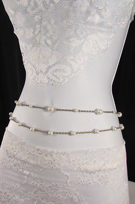 Silver Chains Hip High Waist Belt White Imitation Pearl New Women Fashion Accessories S M L XL - alwaystyle4you - 11