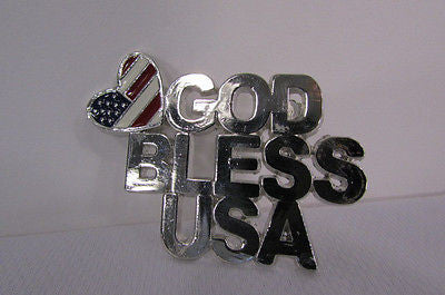 N. Women American Flag GOD BLESS USA Silver Metal Pin Broach Silver 4th of July - alwaystyle4you - 6