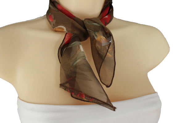 Brown Dark Brown Green Mini Fabric Neck Scarf Tie Necklace Pocket Square Flowers Women Accessories