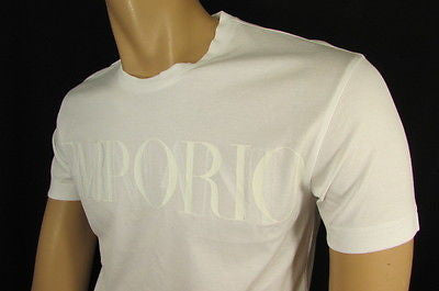 New Emporium Armani Men Signature White Fashion Authentic T-shirt Crew-neck Top Medium $195 - alwaystyle4you - 9