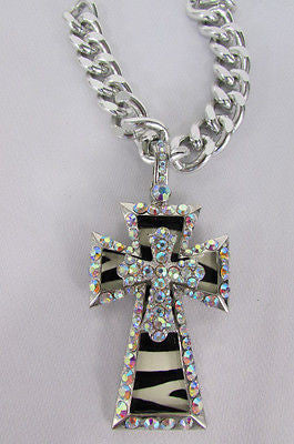 New Women Silver Metal Plate Scarf Necklace Pendant Charm Big Cross Rhinestones - alwaystyle4you - 6