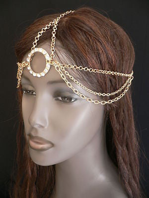 New Miami Beach Women Gold Big Ring Metal Head Chain Jewelry Hair Accessories - alwaystyle4you - 6
