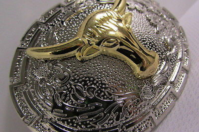 "New Belt Buckle Men Women 3.5""/2.75"" Big Gold Bull Head Silver Metal Western Fashion Belt Buckle 3D Texas long Horn Cow - alwaystyle4you - 4"