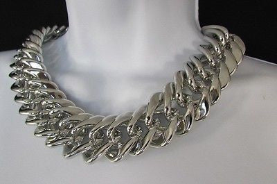 New Women Short Lightweight Chunky Silver Thick Big Chains Fashion Necklace - alwaystyle4you - 9