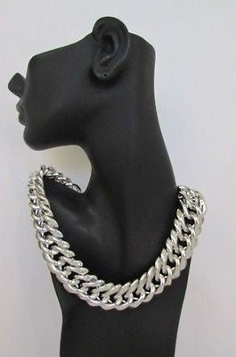 New Women Short Lightweight Chunky Silver Thick Big Chains Fashion Necklace - alwaystyle4you - 3