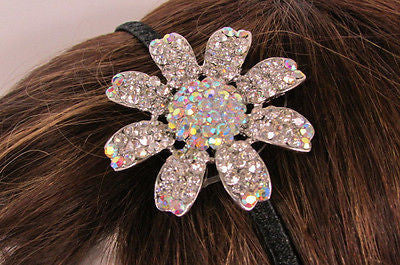New Women Classic Fashion Headband Large Flower Silver Rhinestones Hair Band - alwaystyle4you - 10
