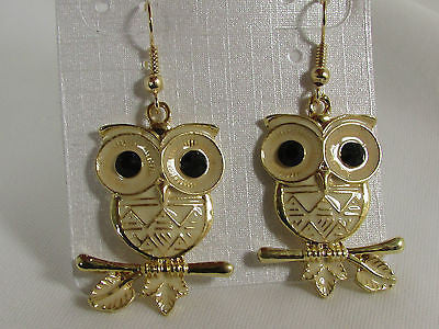 New Women Gold Metal Owl Jewelry Earrings Set Black Eyes Birds Hook Light Weight - alwaystyle4you - 2