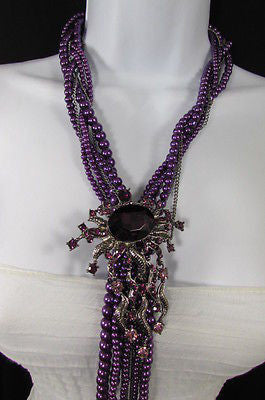Purple Beads Long Twisted Necklace Big Flare Broach +Earrings Set New Women Fashion - alwaystyle4you - 11