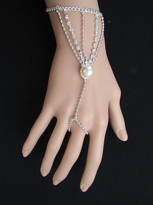 New Women Silver Thin Fashion Hand Chain Bracelet Slave To Ring Wide Net Wrist - alwaystyle4you - 12