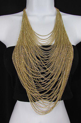 Extra Long Gold Multi Strands Chains Necklace + Earrings Set New Women Fashion - alwaystyle4you - 2