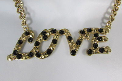 "New Women Fashion Necklace Gold Metal Chains LOVE Pendant Black Rhinestone 16"" - alwaystyle4you - 9"
