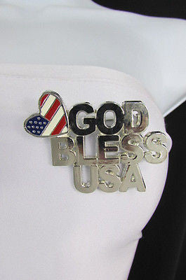 N. Women American Flag GOD BLESS USA Silver Metal Pin Broach Silver 4th of July - alwaystyle4you - 12