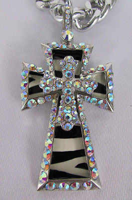 New Women Silver Metal Plate Scarf Necklace Pendant Charm Big Cross Rhinestones - alwaystyle4you - 11