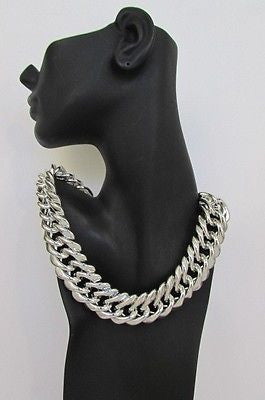 New Women Short Lightweight Chunky Silver Thick Big Chains Fashion Necklace - alwaystyle4you - 5