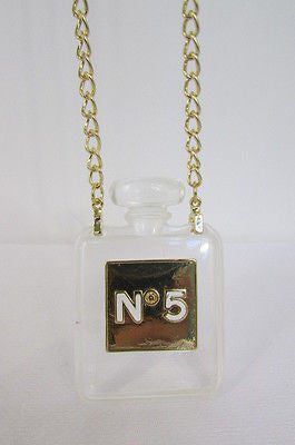New Women Gold Metal Chains Fashion Necklace Clear Plastic Perfume Bottle No 5 - alwaystyle4you - 1